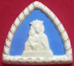 Picture of Our Lady of Graces Wall Lunette cm 10 (3,9 in) Bas relief Glazed Ceramic Della Robbia
