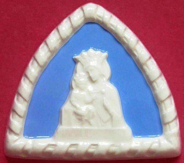 Immagine di Madonna delle Grazie Lunetta da Muro cm 10 (3,9 in) Bassorilievo Ceramica Robbiana
