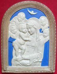 Immagine di Madonna di Boccadirio Lunetta da Muro cm 32 (12,6 in) Bassorilievo Maiolica Robbiana