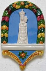 Immagine di Madonna di Loreto Lunetta da Muro cm 14x9 (5,5x3,5 in) Bassorilievo Ceramica Robbiana