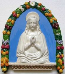 Picture of Praying Virgin Mary Wall Lunette cm 35x30 (13,8x11,8 in) Bas relief Glazed Ceramic Della Robbia