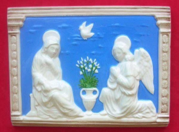 Imagen de Anunciación Panel de muro cm 20x15 (7,9x5,9 in) Bajorrelieve Cerámica Della Robbia