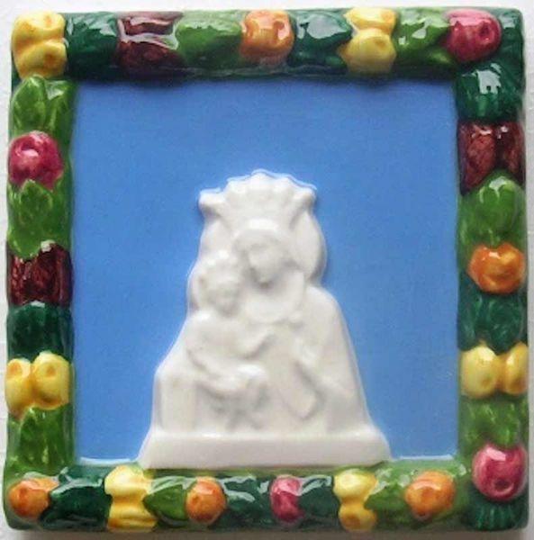 Immagine di Madonna delle Grazie Quadro da Muro cm 10 (3,9 in) Bassorilievo Ceramica Robbiana