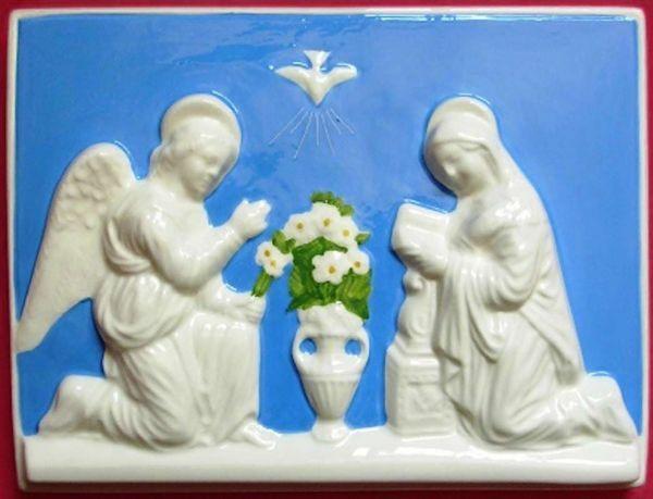 Immagine di Annunciazione Quadro da Parete cm 20x15 (7,9x5,9 in) Bassorilievo Ceramica Invetriata