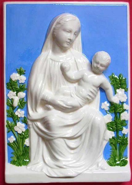 Immagine di Madonna con Bambino e Fiori Quadro da Muro cm 30x21 (11,8x8,3 in) Bassorilievo Maiolica Robbiana