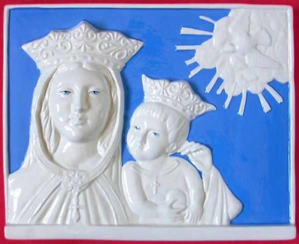 Picture of Madonna of the Crown Wall Panel cm 36x30 (14,2x11,8 in) Bas relief Glazed Maiolica Della Robbia