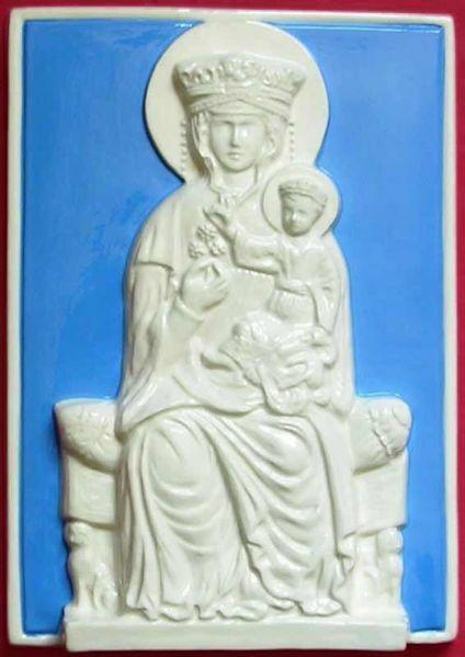 Imagen de Nuestra Señora de Vertighe Panel de pared cm 30x20 (11,8x7,9 in) Bajorrelieve Cerámica Della Robbia