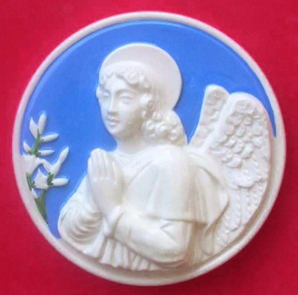 Picture of Annunciation Angel Wall Tondo diam. cm 16 (6,3 in) Bas relief Glazed Ceramic Della Robbia