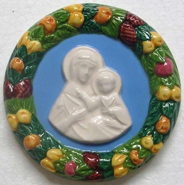 Picture of Blessed Virgin Wall Tondo diam. cm 11 (4,3 in) Bas relief Glazed Ceramic Della Robbia
