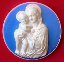 Picture of Virgin Mary Wall Tondo diam. cm 28 (11 in) Bas relief Glazed Ceramic Della Robbia