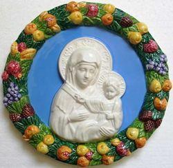 Picture of Virgin Mary Wall Tondo diam. cm 23 (9,1 in) Bas relief Glazed Ceramic Della Robbia