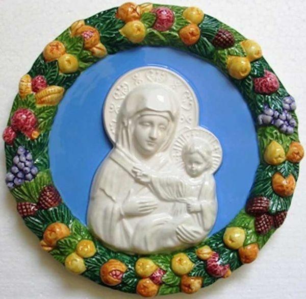Imagen de Virgen Tondo de pared diám. cm 23 (9,1 in) Bajorrelieve Cerámica Della Robbia