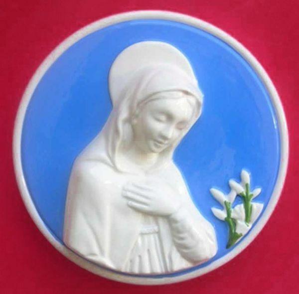 Imagen de Virgen María Tondo de muro diám. cm 16 (6,3 in) Bajorrelieve Cerámica Della Robbia
