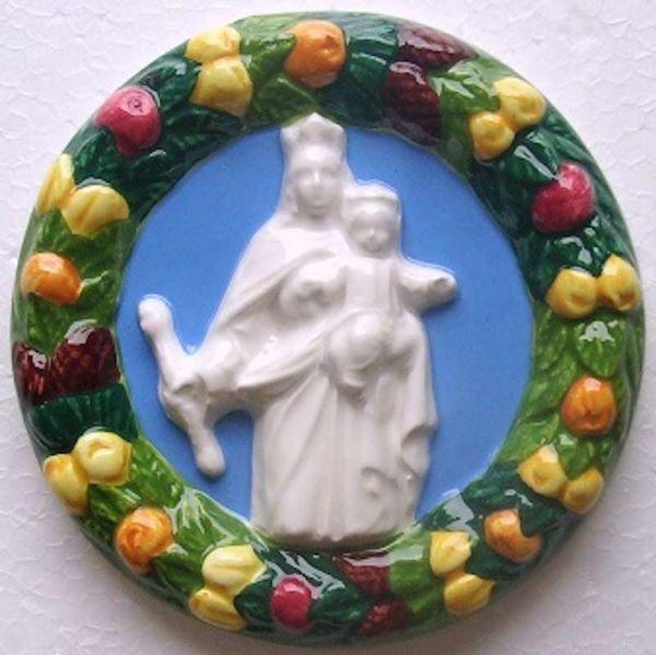 Imagen de Virgen María Tondo de pared diám. cm 11 (4,3 in) Bajorrelieve Cerámica vidriada