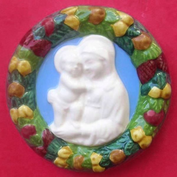 Immagine di Madonna con Bambino Tondo da Muro diam. cm 11 (4,3 in) Bassorilievo Ceramica Robbiana