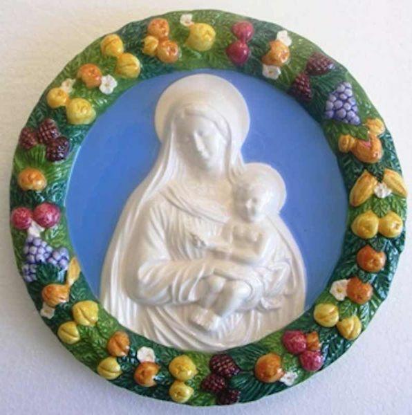 Picture of Madonna and Child Wall Tondo diam. cm 25 (9,8 in) Bas relief Glazed Ceramic Della Robbia
