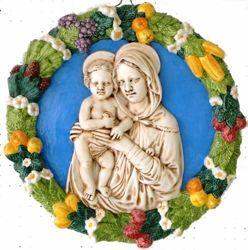 Imagen de Virgen con el Niño Tondo de pared diám. cm 56 (22 in) Bajorrelieve Cerámica Della Robbia