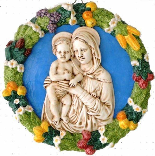 Immagine di Madonna con Bambino Tondo da Muro diam. cm 56 (22 in) Bassorilievo Ceramica Robbiana