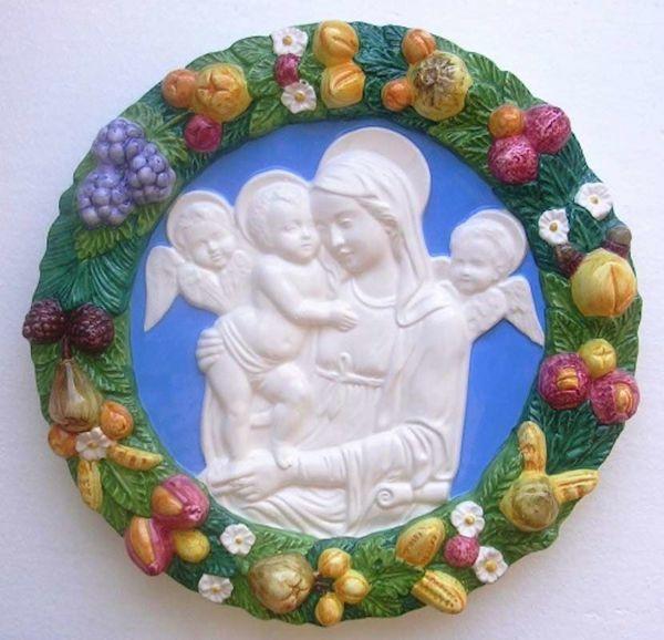 Imagen de Virgen con el Niño Tondo de pared diám. cm 38 (15 in) Bajorrelieve Cerámica Della Robbia
