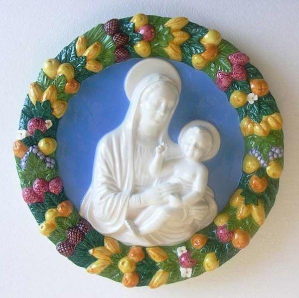 Immagine di Madonna con Bambino Tondo da Parete diam. cm 38 (15 in) Bassorilievo Maiolica Robbiana