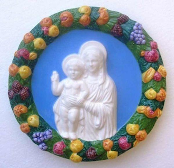 Immagine di Madonna con Bambino Tondo da Muro diam. cm 23 (9,1 in) Bassorilievo Maiolica Robbiana