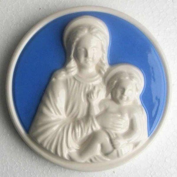 Imagen de Virgen con el Niño Tondo de muro diám. cm 12 (4,7 in) Bajorrelieve Cerámica Della Robbia