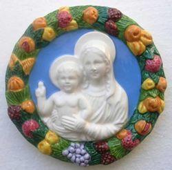 Immagine di Madonna con Bambino Tondo da Parete diam. cm 16 (6,3 in) Bassorilievo Ceramica Robbiana