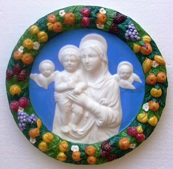 Picture of Madonna and Child with Angels Wall Tondo diam. cm 25 (9,8 in) Bas relief Glazed Ceramic Della Robbia