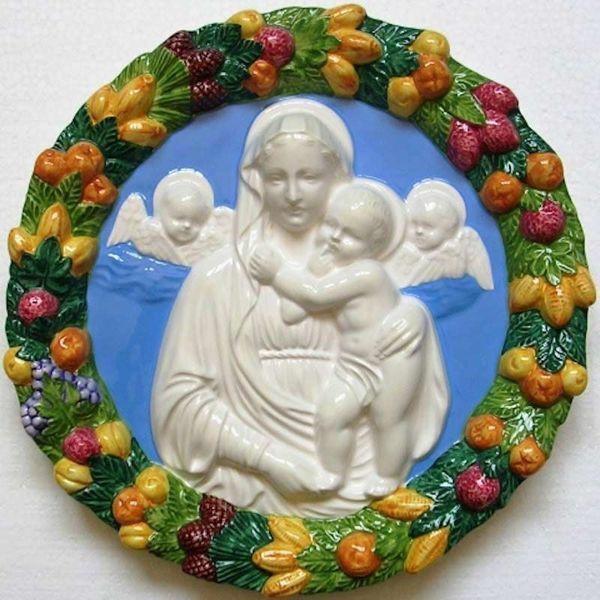 Picture of Madonna and Child with Angels Wall Tondo diam. cm 32 (12,6 in) Bas relief Glazed Ceramic Della Robbia
