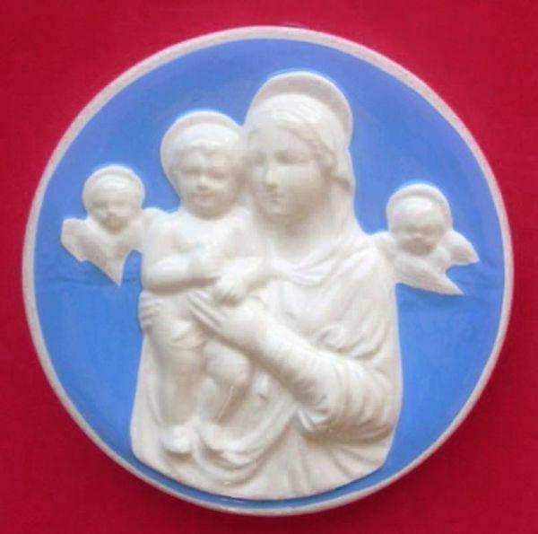 Immagine di Madonna con Bambino e Angeli Tondo da Parete diam. cm 20 (7,9 in) Bassorilievo Ceramica Robbiana