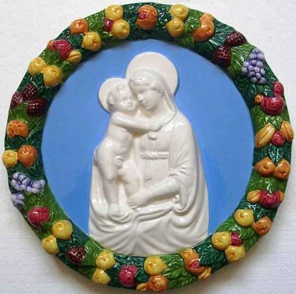 Picture of Madonna and Child Wall Tondo diam. cm 25 (9,8 in) Bas relief Glazed Maiolica Della Robbia