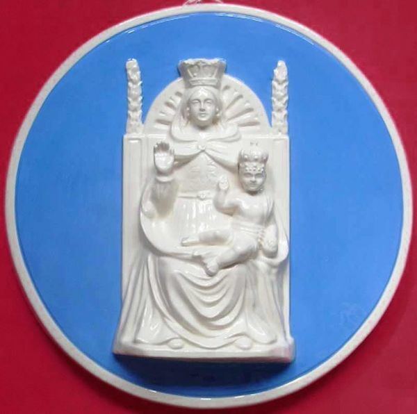 Picture of Our Lady of Help Wall Tondo diam. cm 34 (13,4 in) Bas relief Glazed Ceramic Della Robbia