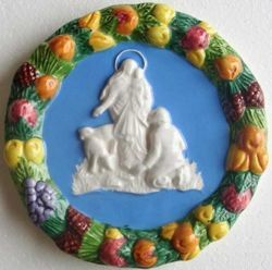 Imagen de Virgen de la Guardia Tondo de pared diám. cm 17 (6,7 in) Bajorrelieve Cerámica Della Robbia