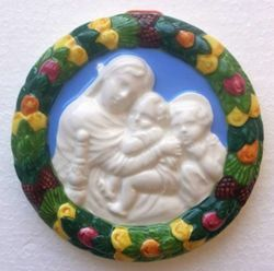 Imagen de Madonna de la Silla Tondo de pared diám. cm 12 (4,7 in) Bajorrelieve Cerámica vidriada