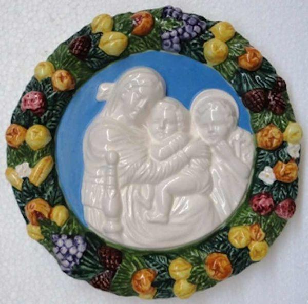 Immagine di Madonna della Seggiola Tondo da Muro diam. cm 18 (7,1 in) Bassorilievo Ceramica Robbiana
