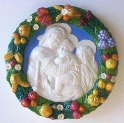 Picture of Madonna della Seggiola Wall Tondo diam. cm 38 (15 in) Bas relief Glazed Maiolica Della Robbia