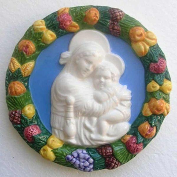 Immagine di Madonna della Seggiola Tondo da Muro diam. cm 16 (6,3 in) Bassorilievo Ceramica Robbiana