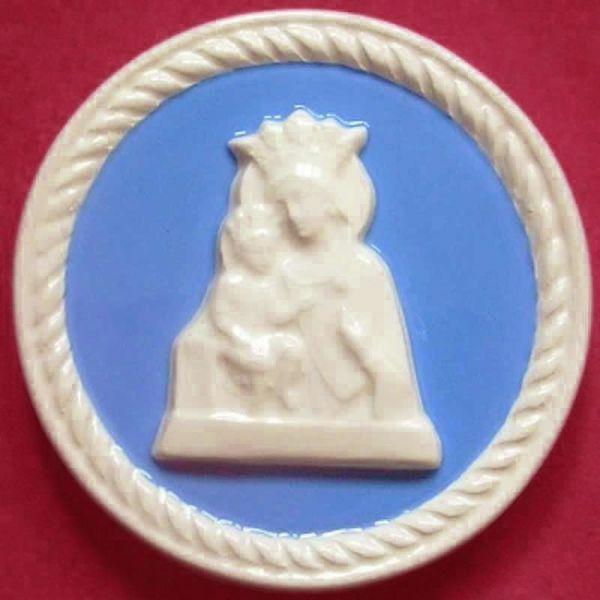 Imagen de Nuestra Señora de Gracia Tondo de pared diám. cm 10 (3,9 in) Bajorrelieve Cerámica Della Robbia