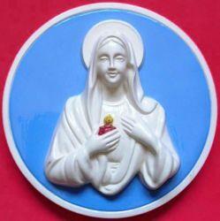 Immagine di Madonna delle Lacrime Tondo da Muro diam. cm 20 (7,9 in) Bassorilievo Maiolica Robbiana