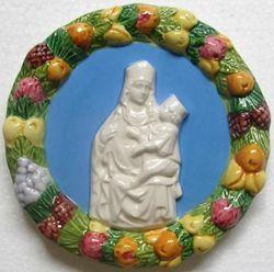 Immagine di Madonna di Castelmonte Tondo da Muro diam. cm 11 (4,3 in) Bassorilievo Ceramica Robbiana