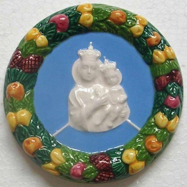 Imagen de Nuestra Señora de Gibilmanna Tondo de pared diám. cm 11 (4,3 in) Bajorrelieve Cerámica Della Robbia