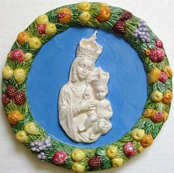 Imagen de Nuestra Señora de Gibilmanna Tondo de pared diám. cm 23 (9,1 in) Bajorrelieve Cerámica Della Robbia