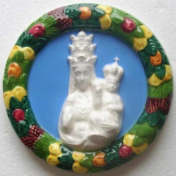 Imagen de Nuestra Señora de Oropa Tondo de pared diám. cm 12 (4,7 in) Bajorrelieve Cerámica Della Robbia