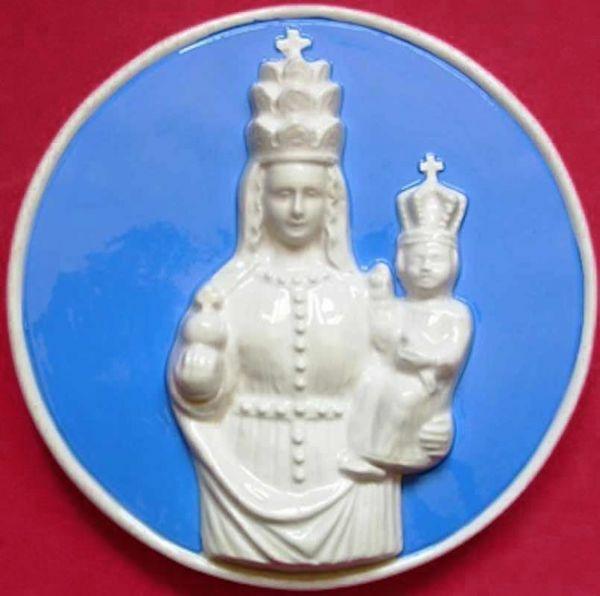 Imagen de Nuestra Señora de Oropa Tondo de pared diám. cm 20 (7,9 in) Bajorrelieve Cerámica Della Robbia