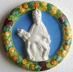 Picture of Our Lady of Pietralba Wall Tondo diam. cm 12 (4,7 in) Bas relief Glazed Ceramic Della Robbia