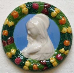 Imagen de Virgen con el Niño (Filippo Lippi) Tondo de pared diám. cm 11 (4,3 in) Bajorrelieve Cerámica Della Robbia