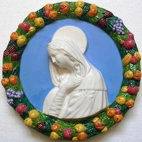 Imagen de Virgen con el Niño (Filippo Lippi) Tondo de pared diám. cm 25 (9,8 in) Bajorrelieve Cerámica Della Robbia