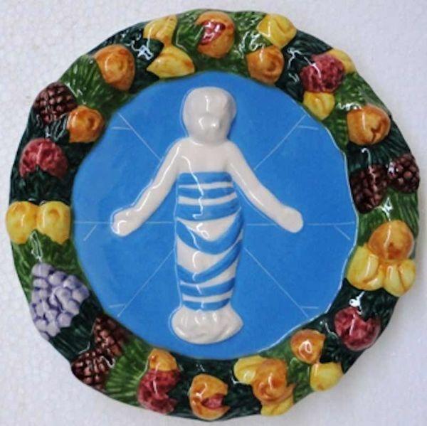Immagine di Putto Tondo da Muro diam. cm 16 (6,3 in) Bassorilievo Ceramica Robbiana