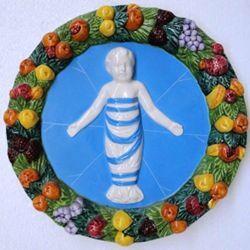 Immagine di Putto Tondo da Muro diam. cm 23 (9,1 in) Bassorilievo Ceramica Invetriata