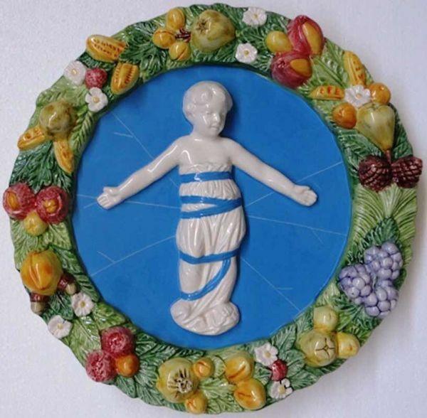 Immagine di Putto Tondo da Parete diam. cm 38 (15 in) Bassorilievo Ceramica Robbiana